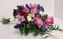 Hand-Tied Presentation Bouquet in Purples, Lavenders, and Creams