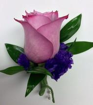 Lavender Rose and Purple Statice Boutonnière