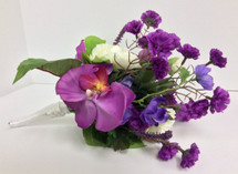 Hand-Tied Silk Bouquet in Purples and Creams