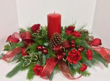 """Crimson Christmas"" Oval Centerpiece"