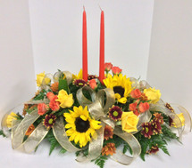 Golden Sunflowers 2 Candle Centerpiece