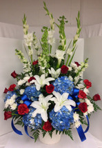 Red, White, and Beautiful Tribute Arrangement