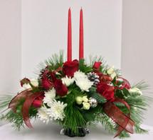 Classic Christmas 2 Candle Pedestal Centerpiece