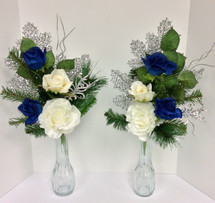 Silk Tombstone Vase Arrangements with Wintergreens and Silver Sparkle