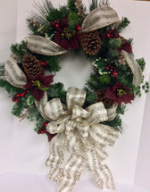 Silk Winter Wreath With Poinsettias and Holly