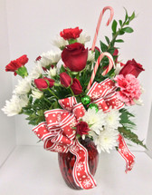 Candy Canes and Snowflakes Vase Arrangement
