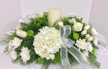 Winter White And Evergreen Centerpiece