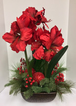 Amaryllis and Red Berries Stunning Silk Arrangement in Ceramic