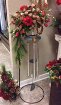 Carson Wind Chimes on Stand decorated with Silk Flowers
