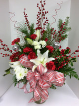 Candy Cane and Berries Festive Flemish Vase