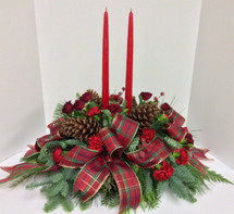 Pinecones, Plaid, and Winterberry Oval Centerpiece