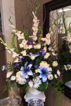 Celebration Arrangement in Navy Blues, Creams, and Whites