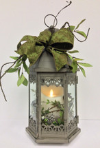 Medium sized Metal Lantern with Mirage Candle