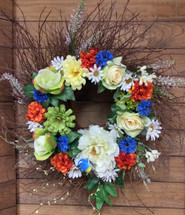 Twiggy Wreath in Silk in Oranges, Blues, and Creams