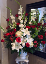 Crimson, Red, and White Stunning Garden Arrangement
