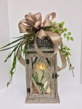 Small Whitewashed Wooden Taupe Lantern with Mirage Candle and Silk Embellishments