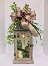 Medium Size Whitewashed Wooden Taupe Lantern with Mirage Candle and Silk Embellishments