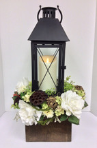 Lantern with Large Mirage Candle in a wooden Box with Cream and White Silks