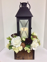 Lantern with Mirage Candle in a Wooden Box with Cream and White Silks