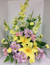 Stylish Yellow Lily Garden Celebration of Life Arrangement