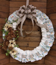 Large Diaper Wreath with Plush Bears and Cream Silk Flower Embellishment