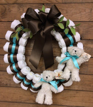 """Small Diaper Wreath with Chocolate And Turquoise Satin Ribbon and """"Tiny Bears"""""""