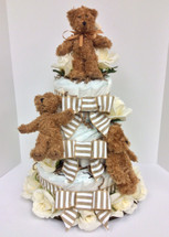 "Medium Sized Diaper Cake with ""Tiny"" Bears and Cream Silk Roses"