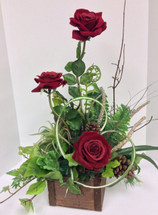 Silk Red Roses and Birch Branches Wooden Box