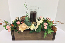 Silk Centerpiece Box with Candle and Globe in Earthtones