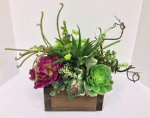 Silk Succulents and Peony Wooden a Box