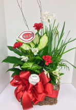 """Reds Fan"" Planter with Fresh Flowers and Baseball"