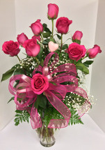 Premium long-stemmed Ecuadorian hot pink roses arranged