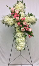 Stunning Cross Fresh Easel with Pastel Rose Adornment