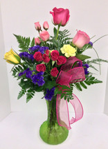 Mom's Multi-Colored Rose Garden Vase Arrangement