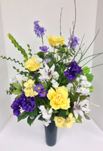 Silk Memorial Vase in Yellows, Purples, and Whites