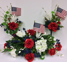 Patriotic Silk Grave Saddle with 2 Matching Side Pieces