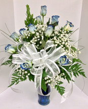 Dozen Tipped Blue Roses in Cobalt Blue Vase