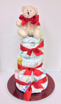 Classic Diaper Cake with Teddy Bear