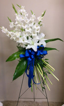 Gladiolas and Lily Garden Bouquet Easel