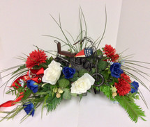 Patriotic Silk Saddle with Motorcycle