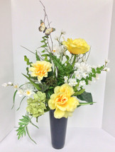 Silk Memorial Vase in yellows with Butterfly