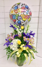 Iris Birthday Bash Arrangement With Balloon