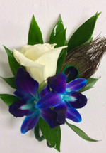 Bomb Blue Orchid and White Rose Boutonniere with Peacock Feather