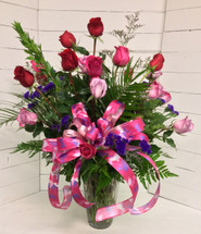 Two Dozen Long-stemmed Roses Arranged in Mixed Jewel Tone Colors