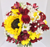 Hand-Tied Bouquet in Golden Yellows and Reds