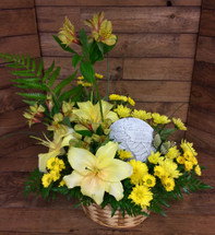 Sunny Remembrance Fresh Arrangement with keepsake plaque