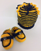 Hand Crafted Michigan Colored Booties and Hat Combo