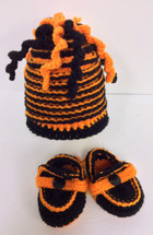 Hand Crafted Bengals Colored Booties and Hat Combo