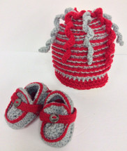 Hand Crafted Buckeyes Colored Booties and Hat Combo