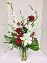 Romance in Roses and Lilies Fresh Vase